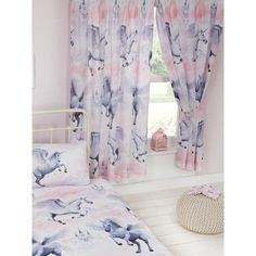 Exclusive PriceRightHome design Magical unicorn themed curtains Size: 66in wide x 72in drop (168cm x 183cm)