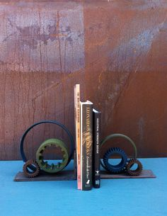 Gears Bookend Industrial bookends industrial decor handmade recycled $95