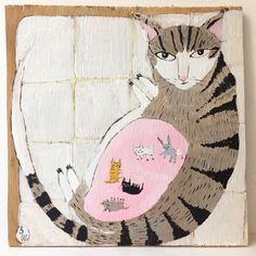 "Cat Illustration by Sally Welchman (@moggshop) on Instagram: ""#pregnantcatpainting nearly finished #cheggers #preggerskitty #catpainting #catart #paintingonwood…"""