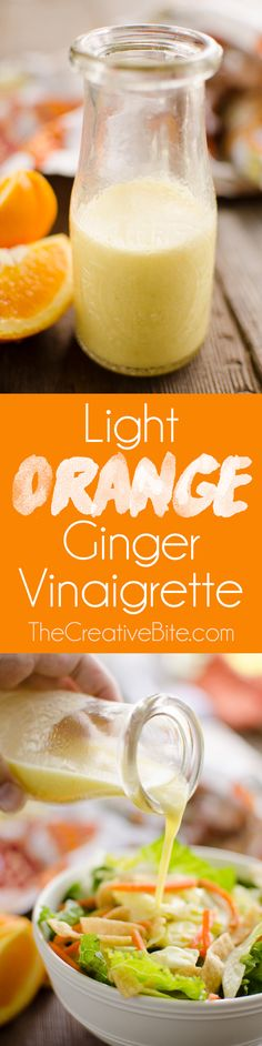 Light Orange Ginger Vinaigrette is a healthy and refreshing homemade dressing perfect for an Asian inspired salad or wrap.#Salad #Dressing #Healthy