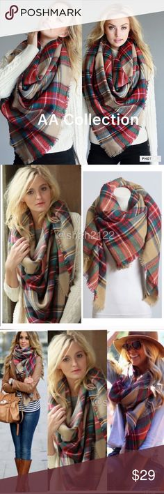 "Plaid blanket scarf oversized check wrap shawl New Tartan Blanket Plaid scarf wrap shawl checked  Brand New without tags. Retail item. Soft, cozy and warm. Tartan Blanket Plaid scarf wrap shawl checked. Very stunning and classic. So many ways to wear it. Material : 100% Acrylic. Measurement : 60""x 55"" Accessories Scarves & Wraps"