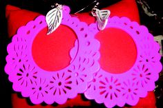 pink flower with white leaf earrings