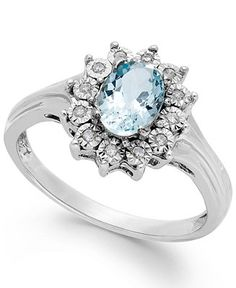 Aquamarine (5/8 ct. tw.) and Diamond Accent Ring in 10k White Gold - All Fine Jewelry - Jewelry & Watches - Macy's