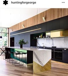 'Minimal Interior Design Inspiration' is a weekly showcase of some of the most perfectly minimal interior design examples that we've found around the web - all Home Decor Kitchen, Interior Design Kitchen, Kitchen Furniture, Kitchen Dining, Kitchen Island, Island Bar, Brass Kitchen, Space Kitchen, Island Bench
