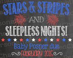 Fourth of July Pregnancy Announcement by PersonalizedChalk on Etsy, $8.00