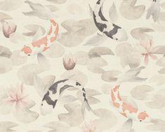 RW313 Quirky Wallpaper, Fish Wallpaper, Wallpaper Paste, Koi, Damask, Damascus, Damasks