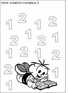 O numero 1 Numbers Preschool, Math Numbers, Free Preschool, Nursery Worksheets, Preschool Worksheets, Math For Kids, Home Schooling, Kindergarten Math, Baby Crafts