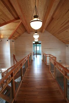 The bridge from the couples suite to the playroom and bedroom of their child. The stair goes up to his office that is in the top of a faux silo. Log Cabins, Bungalows, Country Decor, Game Room, Playroom, My House, Ranch, My Design, Living Spaces
