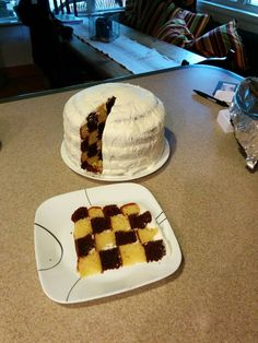 I made a checkerboard cake. xpost from /baking.