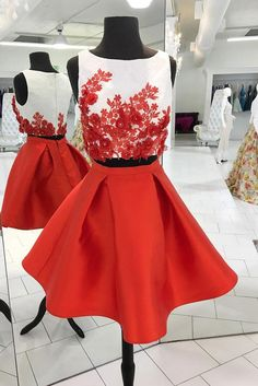 Red Two Piece Homecoming Dresses,Cute Appliqued Satin Homecoming Gown,Short Prom Dress