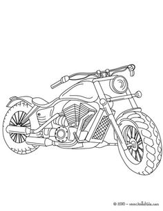 colour it, sew it, trace it, etc. Harley Davidson coloring page