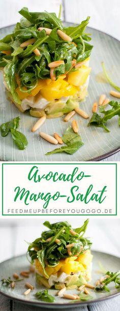 Avocado-Mango-Salat mit Mozzarella, Rucola und Pinienkernen, Rezept / Avocado mango salad with mozzarella, rocket, and roasted pine nuts // Feed me up before you go-go salad salad salad recipes grillen rezepte zum grillen Mango Salat, Avocado Salat, Fresh Avocado, Avocado Toast, Roasted Avocado, Fresh Vegetables, Fruits And Veggies, Guacamole, Pesto