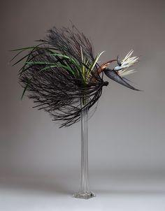 Ikebana Flower Arrangement, Ikebana Arrangements, Flower Arrangements, Eiffel Tower Vases, Bird, Abstract, Creative, Floral, Flowers