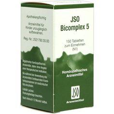 JSO BICOMPLEX Heilmittel Nr. 5:   Packungsinhalt: 150 St Tabletten PZN: 00544869 Hersteller: ISO-Arzneimittel GmbH & Co. KG Preis: 5,82…