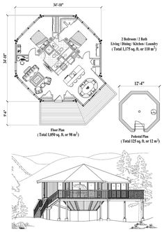 Online House Plan: 1175 sq. ft., 2 Bedrooms, 2 Baths, Pedestal Collection (PD-1123) by Topsider Homes.