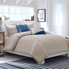 Nautica Crew Solid Bed Set, 100% Cotton - Bed Bath & Beyond. I dont like the blue pillows but I like the beige comforter and shams.