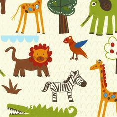 Kids Jungle Animals Fabric is perfect for adding a little something wild to your child's nursery or bedroom. So cute! http://warmbiscuit.com/kids-jungle-animals-fabric.html