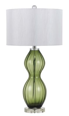 Cal Lighting BO-2453TB 150W 3 Way Glass Table Lamp Green Lamps Table Lamps
