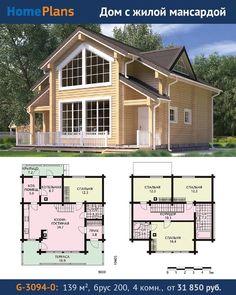 Проект G-3094-0.  Одноэтажный коттедж с жилой мансардой.  Компактный дом из бруса с мансардой  находка для небольшой семьи мечтающей о собственном загородном доме. Дом экономичен и комфортен одновременно. Экономичность  результат рациональной планировки и конструктивной схемы. В доме отсутствует подвал (как правило дорогое удовольствие) и чердак. Мансарда используется полностью. Комфортабельность дома - продуманная планировка. Также тут запланированы котельная гостевая санузел и прихожая. В…