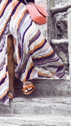 Colorful maxi skirts with Lusha python handbag