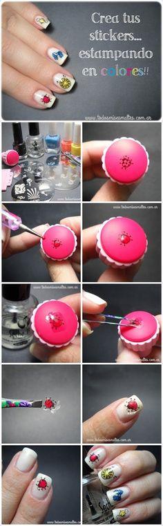 stamping-konad-in-colors creating nail stickers Nail Art Hacks, Nail Art Diy, Diy Nails, Love Nails, Pretty Nails, Diy Ongles, Nail Art Designs, Nagel Hacks, Stamping Nail Art