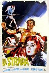 DVD CINE 2147-I - La strada (1954) Italia. Dir.: Federico Fellini. Drama. Sinopse: na Italia de Posguerra, unha nai vende á súa filla de 20 anos, Gelsomina, a un basto artista de circo chamado Zampanó por 10.000 liras. Gelsomina entrará así a formar parte do mundo dos espectáculos ambulantes. Pero o duro carácter de Zapanó, fronte á inocencia e candidez de Gelsomina, provocarán frecuentes desgustos á nova, quen ás veces se verá incapaz de afrontar a dura situación que lle tocou vivir.