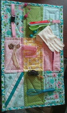 Fidget blanket I made and donated to company that cares for Alzheimer's clients. #elderlycarealzheimers #alzheimerscare