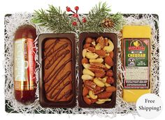 The perfect cheese and sausage tray with Wisconsin medium cheddar cheese, Old Wisconsin garlic summer sausage, Lick-A-Dee Splitz famous chocolate Fudge and deluxe mixed nuts for your home away from home.