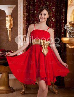 Red Spaghetti Bow A-line Chiffon Homecoming Dress - Milanoo.com
