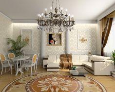 Дизайн гостиной в классическом стиле.