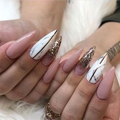 marble nude stiletto nails