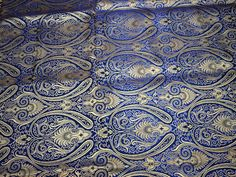 Lovely Navy Blue Brocade Fabric by the Yard, Wedding Dress Fabric, Banaras Fabric, brocade for evening jacket, Indian Blended Silk Lovely Navy Blue Brocade Fabric by the Yard Wedding Dress Yard Wedding, Brocade Fabric, Blue Backgrounds, Dress Making, Fabric Design, Floral Design, Navy Blue, Wedding Dresses, Beautiful