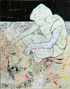 Draw yourself 01 collage on wood fibre 100x80 2011