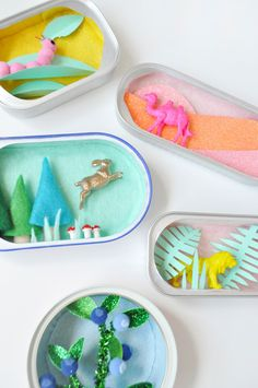 Mini Sardine Can Dioramas ⋆ Handmade Charlotte Craft Activities For Kids, Diy Crafts For Kids, Art For Kids, Tin Can Crafts, Arts And Crafts, Paper Crafts, Diy Toys And Games, Recycle Cans, Reuse