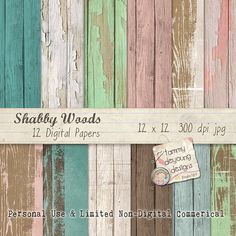 Wood Digital Papers distressed, in Shabby Chic colors for invitations, weddings, scrapbooks, cards, home decor, photocards, paper crafts! on Etsy, $57.59