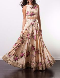 Exclusive Crop Top and Satin Lehenga. Beautiful Printed Peach Georgette Lehenga with Peach Pritned Crop Top. Look Beautiful by wearing this Stylist Designer Lehenga. Floral Lehenga, Lengha Choli, Sari, Saree Blouse, Lehenga Designs, Cropped Tops, Indian Attire, Indian Wear, Indian Dresses