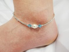 Anklet Ankle Bracelet Light Aqua Blue by ABeadApartJewelry on Etsy