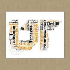 UT - University of Tennessee - Wall Art - Office Art - Typography - Word Cloud - Choose color - Gift for your favorite Man on Etsy, $15.00