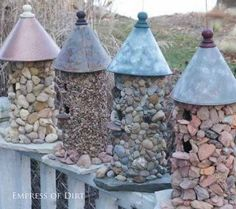 Make a stone birdhouse and more frugal and easy garden art projects.  #gardening #gardenart #spon #DIYprojects #repurposed