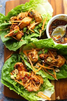 20 minute Teriyaki Chicken Lettuce Wraps makes for a quick low carb healthy lunch or dinner Gluten Free Dairy Free Soy Free Paleo Option Carb Free Recipes, Lunch Recipes, Healthy Dinner Recipes, Cooking Recipes, Gluten Free Recipes For Lunch, Keto Recipes, Dairy Free Dinners, Healthy Lunch Wraps, Healthy Dinner Options