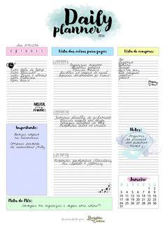 Para Baixar: Planner Diário 2016 (Grátis) Printable Stickers, Printable Planner, Printables, Filofax, Planner Diario, Planners, 2017 Planner, Bullet Journal, Bujo