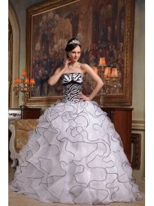 Cute White Quinceanera Dress Strapless Ruffles Organza and Zebra Ball Gown