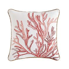 Embroidered Coral 17 Quot Pillow In 2020 Pillows Throw