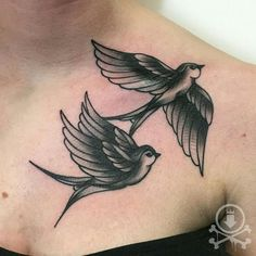 Awesome traditional style black and grey swallows tattoo by Rebecca G. #12ozstudios #team12oz #tattoos #tattooartist #swallows #traditionaltattoos #blackandgrey #blackwork #tattoosformen #tattoosforwomen