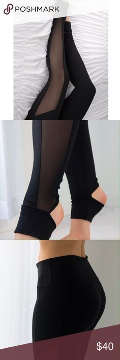 """Downtown Mesh Workout Pants ◽️Workout in style! Sleek mesh accent along both legs with bottom stirrups that make your legs look miles long. Stretchy, soft, breathable material with a smooth feel. Chic option if you also love athleisure wear for casual days. Stretch waistband is flattering on the tummy. Nylon/spandex. 8.75"""" rise unstretched (from M).  Waist across: S 12.25"""" --  M 13.25"""" -- L 14.25"""" Brand new. ▫Pair with my Varick White Mesh Hoodie  ▫Price is firm, no offers ▫️Serious…"""