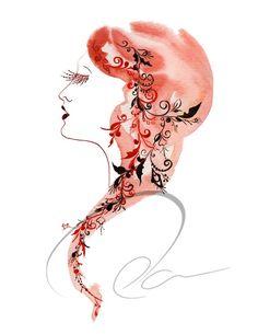 Beauty - Art Print watercolor fashion sketch design decor exotic red hair Russian woman sexy eyelashes glamorous lips makeup Oladesign 5x7. $17.00, via Etsy.