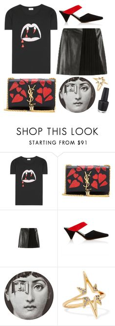 """""""Bloodsucker"""" by cherieaustin ❤ liked on Polyvore featuring Yves Saint Laurent, Thierry Mugler, Fornasetti, Elizabeth and James and OPI"""