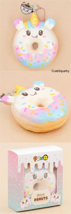 Kawaii Puni Maru unicorn donut squishy with dripping pastel frosting and rainbow sprinkles!