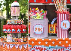 Lots of candy! The tiers of colorful things is a great constant. Each tier has things of different colors!