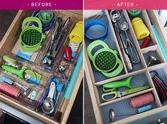 IHeart Organizing: Four Days & Four Drawers Mini Organizing Challenge: DIY Kitchen Utensil Drawer Dividers